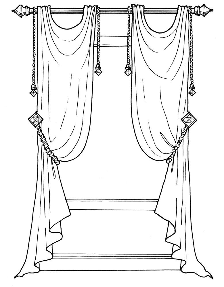 картинка как нарисовать шторы нетрадиционных